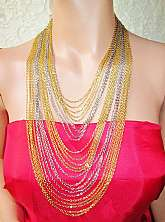 Multi Chain Cascade Necklace Vintage Gold & Silver Metal Adjustable Length High Fashion Costume Jewelry
