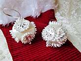 "Christmas Wedding White Ball Ornament Set 2 Vintage Handmade Silk 9"" Pin & Pearl Silver Snowflake Unused Tree Hanging Holiday Home Wedding Decor Ball Ornament"
