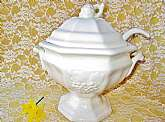 Soup Tureen Set Bowl Ladle Lid Vintage Porcelain Ceramic Antique Grape Design California Pottery USA Signed Kitchen Serving Dining Tableware Housewarming Gift