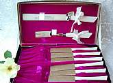 Cattaraugus Cutlery Set Steak Knives & Carving Vintage New 8 Pc RARE Antique NIB High Carbon Vanadium Steel Knife Kitchen Cookware Dining Serving Wedding Housewarming Gift Box Purple Velvet White Set