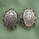 * Lucky 4 leaf clover clip earrings from the 1950s* Signed Emmons on back clip of each earring. Emmons jewelry was the sister company of Sarah Coventry, and was named for the owner's wife, Caroline. Emmons pieces commanded a slightly higher price, than