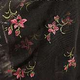 Fabulous vintage 2 way stretch mesh net screen printed rose patterned fabric on black ground.  The colors are fabulous in the pinks and greens on a black ground.  It is 64 inches wide and we have 10 yards of it.  This is perfect for lounge clothes, nightg