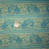 Beautiful vintage crisp cotton quilt or craft fabric in lovely teal and tan paisley print. Measures 44