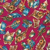 Fabulous newer vintage silky rayon poly silk blend crepe de chine fabric with musical instruments and learning motif.   It is gorgeous 46 inches wide by almost 6 yards.  There is a cut out spot at one end that we did not include in our measurements. It ha
