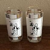Set of 8 rare 50's mid century MadMen novelty Asian art flamingo highball tumblers or glasses that are signed.  These are so retrofabulous and are in new old stock unused condition.  They measure 5 1/2 inches tall and are free of defects.