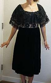Stunning vintage ruffled illusion lace formal cocktail dress by Lee Jordan, New York.  This beauty is off shoulder with ruffled neckline and sleeves.  The illusion lace is on bodice and the skirt is out of gorgeous black velvet, the really nice grade velv