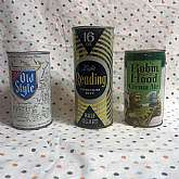 Vintage Lot of 3 Empty Beer Cans Old Style,  Reading Light Robin Hood Creame Ale - 1970's Heileman's Old Style Light Lager Beer Can - 12 oz  Reading Premium Light Beer Can - 16 oz