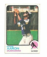 Vintage Topps #100 Hank Aaron Atlanta Braves Baseball Card - 1973