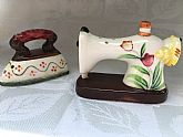 Set of sewing inspired salt and pepper shakers: iron and sewing machine