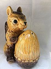 Large ceramic squirrel and nut hugging salt and pepper shakers
