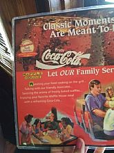 vtg. waffle house menu with coca - cola advertisement