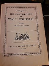 Vintage book Full collection of poetry by Walt Whitman... 1942 published by Blue Ribbon Books