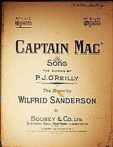 This piece of antiquarian sheet music was published in 1915 by Boosey & Company, Ltd of New York City and London.  It was arranged for the piano by Wilfrid Sanderson, and the lyrics written by P.J. O'Reilly.  This music will be a great acquisition for