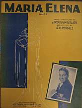 This piece of sheet music was published in 1941 by the Peer International Corporation.  It was arranged for the piano and voice by Lorenzo Barcelata, also writing the Spanish language lyrics.  The English language lyrics were written by S.K. Russell.  Thi
