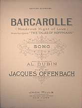 "This vintage sheet music was published in 1925, and is part of the Edition Supreme collection of National Music Lovers, Incorporated.  ""Barcarolle"", or ""Wondrous Night Of Love"" is from the opera ""The Tales Of Hoffmann"".  This"
