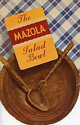 This vintage salad recipe book was published by the Corn Products Refining Company in 1938 to promote their product, Mazola Corn Oil.  There is a stamp on the inside front cover indicating it was given to, presumably, a customer of a business, Silleys Ide