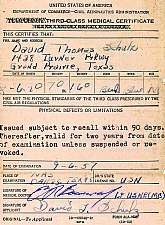This is a 1957 Third-class Medical Certificate issued to a USN pilot by the United States of America, Department of Commerce, Civil Aeronautics Administration.  Collectors of militaria and ephemera will find this medical certificate to be a unique and aff