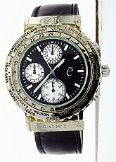 New Exte Acht Watch Chronograph World Time Rotating Bezel Stainless Steel Black Dial