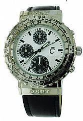 New Exte Acht Watch Chronograph World Time Rotating Bezel Stainless Steel White Dial