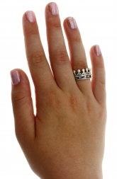 Wide Tiara Queen King Royal Crown Band Ring New Real Solid 925 Sterling Silver