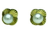 New 14K Solid Yellow Gold Square Flower Pearl Stud Earrings Large Screw Back