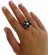 New 925 Sterling Silver Polished Fashion Jewelry Flower Ring Black & White CZ