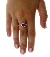 New Real 925 Sterling Silver Fashion Jewelry Halo Wedding Ring Red and White CZ