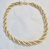 Vintage Faux Gold and Pearl Braided rope style Choker