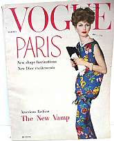 """VOGUE Magazine - March 1, 1958""PARIS - New Shape FascinationsNew Dior ExcitementsAmerican FashionThe New VampThis great vintage Vogue is full of what is know as ""The New Look"".   192 pages plus cover with photo taken by photog"