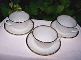 Excellent condition 3 sets of Anchor Hocking Swirl Cups and Saucers