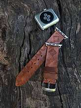 APPLE Watch Series :1 - Series :2 - Series: 3 Series: 4 Compatible38 mm and 42 mm , 40mm and 44mm Woman Watch Band Apple Watch Hand Tooled Engraved Adapters Leather Single Tour Straps for Women & Men 38mm 42mm Case by GorianiBeautiful handcraft an