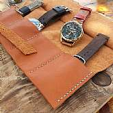 Leather watch travel valet made of gehuine soft leather. Custom watch rolling for watch organization when traveling. This handsome leather watch roll is handcrafted from very rich and luscious premium leather color English tan.The top flap protects any