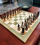 Vintage handmade chess board made from onyx