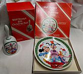1975 Walt Disney Christmas plate and bell.