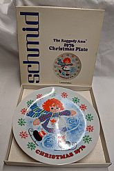 1976 Raggedy Ann Christmas plate and ornament.