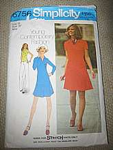 This is a Simplicity Pattern from the 1970's'  size 16 MIsses.  It is for a pullover dress or a top and short skirt. the pants shown are not included.
