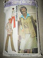 This is Simplicity Pattern #6516, Copyright 1974.  It has patterns for a top, cardigan, bias cut skirt and pants.  The pattern is complete, there are no missing pieces.  The pant legs have wide bottoms.  This pattern is sized for stretch knits.