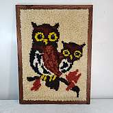 "Mid Century Latch Hook Rug Wall Hanging Art Retro 1970's Textile Art Owls Mother Baby Folk Art In very good clean condition, nice work.Measures 29 x 22""Thank you"