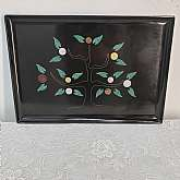 Mid Century Couroc Black Money Tree Serving Tray Inlayed Coins Handcrafted Mid Century Modern Black Tray by Couroc of MontereyRare or Hard to find Coin Money Tree.    The detail is wonderful and was crafted by master craftsmen.Couroc began in 1948 in