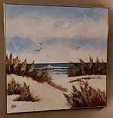 "Mid Century Modern Oil on Board Seagull in Flight Vintage Ocean Beach Landscape1970's Painting on BoardMetal Frame36""H x 36""W x ½""D Good Condition, very minor wear.T"