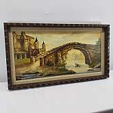 "Vintage Rustic Signed Yoder Canvas Oil Painting Beautiful Wall Hanging with Hand Craved Wood Frame Original Wall Art LandscapeMeasures 15""H x 26.5""W x 2""DIn good condition with minor wear.  Frames has minor nicks and scraches.Thanks"