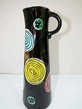 Vintage Schramberg SMF Pitcher/Vase Mid Century Modern Abstract Design Art Pottery Black and multi-color Germany Made marked SMF Schramberg Handgemalt DEC R10 17 and stamped 4960In good condition, no chips or cracksTh