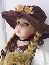 nice lovely ceramic doll 30 Inch full clothes brown shoes