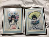 mall set of professionally sealed to wood board frame Flower Boy and Flower girl with light blue trim; Reverse-DeGrazia STK# 16-S,15.S, Ari Lam P O Box, 1271, Tempe AZ 85281