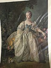 Antique reproduction of Madame Bergeret on 11 x 14 paper by the Samuel H Kress Collection;  Madame Bergeret is placed in a garden setting, dressed in a off-white silk gown, tight in the bodice with lace ribbon choker; highlighted with blue ribbons.