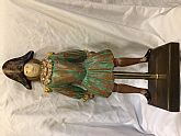 Vtg folk art, male soldier painted brown with stress green, yellow shoulder and sleeve decorations, with black bicorn hat; painted facial features, made upon a brass pole and screwed to a wood base.