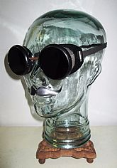 Antique Kimball Pierced Shield Goggles Black Glasses