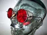 Antique WWII Red WELSH Mesh Shield Aviator Goggles Sunglasses Vintage Steampunk USA Military
