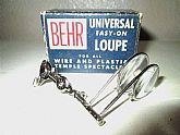 "Up for sale is a very cool""Antique Behr Double Universal Easy On Jewelers Loupe Spectacles ""!Details:Brand: BehrCountry of Manufacturer: U.S.A. Year / Era: 1947-1964 (Post WWII-Early 60s) Frame Color: SilverLens Color: Clear Condition"