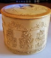 COLLECTIBLE Vintage VICTORIAN 1800s antique Carved Celluloid COLLAR BOX 6 x 4.5